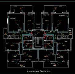 Pcsitemiz Apartman Elektrik Tesisat Proje 1 ci kat ölçek 1-50