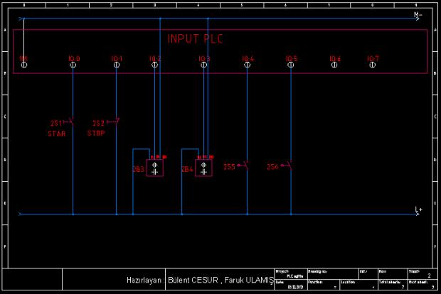 2 autocad elektrik şema pano siemens delta start stop input output I0 Q0 yakınlık proxy siviç buton giriş çıkış