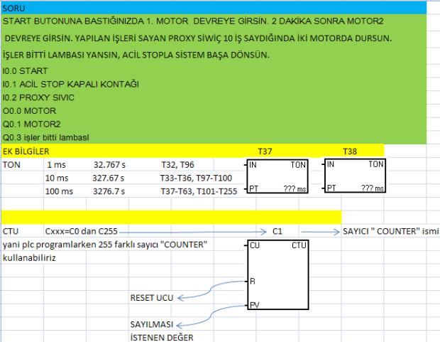PLC eğitim Soru sayıcı counter zamanlayıcı timer motor proxy siviç sviç ankara s7-200 delta adım mantık şema diyagram sistem start stop reset t37 ms